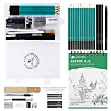 Lemecima Bleistift Set Skizzenbuch Skizzierstifte Set professionelle Stifte zum Zeichnen mit Schreibwarenbox Skizzenbuch für Künstler Student Lehrer Anfänger (Grün)