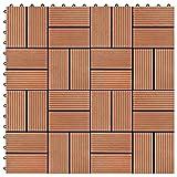 VIENDADPOW Fußböden Teppichböden Terrassenfliesen 11 Stück WPC 30 x 30 cm 1 qm Teakholzfarbe