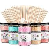 Misskandy, Zuckerwatte Zucker / Charge ( 5*300Gr)= 1,5kg/ Geschmacksrichtungen: Erdbeere, Apfel, Marshmallow, Cola, Himbeere/ zuckerwattemaschine zucker/Premiumqualität + 50 Stäbchen (30 cm)
