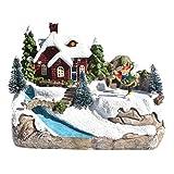 Househome Weihnachtsdorf beleuchtet, LED Weihnachtshaus, Beleuchtung für Fenster, Miniatur – Haus, Weihnachtsbaum, Schneemann