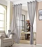 WOLTU® VH6064dgr, Gardinen transparent mit Ösen Leinen Optik, Ösenschal Vorhang Stores Voile lichtdurchlässig Fensterschal Dekoschal für Wohnzimmer Schlafzimmer, 140x145 cm, Grau, (1 Stück)