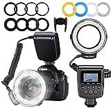 LED-Ringblitz-Kit, 48 Makro-LED-Lampen (mit LED-Anzeige, 8 Adapterringen, 4 Blitzdiffusoren), für Panasonic | Nikon | Canon | Olympus | Pentax SLR-Kamera
