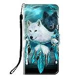 Sunrive Kompatibel mit Samsung Galaxy Xcover 3 Hülle,Magnetisch Schaltfläche Ledertasche Schutzhülle Etui Leder Case Handyhülle Tasche Schalen Lederhülle MEHRWEG(Q Wolf 6)