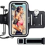 Gritin Sportarmband Handy für iPhone SE(2020)/12/12 Pro/12 Mini/11/11 Pro/XS/XR/7/8 bis zu 6,1', Schweißfeste Handytasche mit Schlüsselhalter, Kopfhörerloch und Verlängerungsb