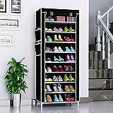 Trintion Schuhregal mit 10 Ebenen Staubdichtes Schuhablagen Stoff Schuhschrank Schuhe für Wohnzimmer, Flur (58 x 28 x 160 cm, Schwarz)