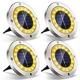 Kansas Solarleuchten 16 LED Flache Solarlampen mit Warmweißen Licht Einbaustrahler Solar Bodenleuchten Wegeleuchten für Beleuchtung Aussen Boden Terrasse Balkongelaender (4 Stück)