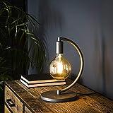 famlights® Malina Tischleuchte Tischlampe Nachttischlampe Tisch-Leuchte Schreibtischlampe Vintage Silber Metall E27