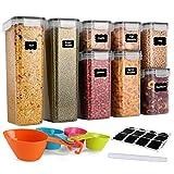 GoMaihe Vorratsdosen 8 Set, Aufbewahrungsbox Küche Luftdicht Behälter aus Plastik Mit Deckel, Vorratsgläser zur Aufbewahrung von Nudeln, Müsli, Reis, Mehl, und für Futter Haustiere, MEHRWEG