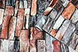 3D Tapete Stein Papier Stein Strukturierte Tapete Peel & Stick Selbstklebende Tapete Vintage Roter Backstein Stein Stein Tapete Druckpapier für Wanddekor Filmrolle