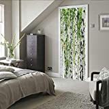 SDSONIU 3D Kreative Türaufkleber Grün Pflanzen Blätter 88X200Cm Türtapete Selbstklebend Türposter - Fototapete 3D Effekt Türfolie Poster Tapete Wandtattoo DIY Selbstklebende Wandbild PVC wasserdichte