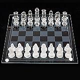 CZYNB Feinglasschachspiel Set, Feste Glasschachfiguren mit gepolstertem Boden, Kristallschachbrett Jugend Erwachsene Spielset, Elegantes Haus Dekor Schachspiel Sets Geschenk für Familie