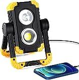 Ufanore LED Baustrahler, 3 Modi Tragbar Arbeitsscheinwerfer, IP65 Wasserdicht Arbeitsleuchte, 4400mAh Wiederaufladbares Camping Licht, Lampe für Werkstatt, Baustelle, Garage, Werk