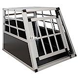 Sam´s Pet Alu Hundetransportbox M - 69×54×51 cm - Auto Hundebox robust & pflegeleicht – Gittertür verschließbar – Aluminium Transportbox für H