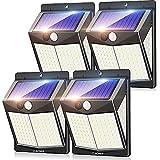 Claoner Solarlampen für Außen mit Bewegungsmelder, 140 LED Solar Bewegungsmelder Aussen Solarleuchten für Außen, 3 Modi 270° Superhelle IP65 Wasserdichte Solar Wandleuchte für Garten - 4 Stück
