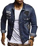 Leif Nelson Herren Jeans-Jacke mit Knopf Casual Freizeitjacke Slim Fit Männer-Übergangsjacke Stretch Langarm Das Beste in Kleidung Männer LN9550; Größe XXL, Blau
