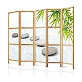 murando - Paravent XXL Spa Zen Orient 225x171 cm 5-teilig einseitig eleganter Sichtschutz Raumteiler Trennwand Raumtrenner Holz Design Motiv Deko Home Office Japan p-C-0016-z-c