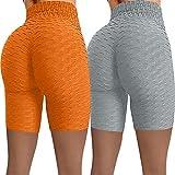 AFFGEQA 1PC/2PCs Damen Stretch Sport Shorts Yoga Leggings Honeycomb Slim Fit Shorts Push Up Hohe Taille Kurze Yogahosen Sportleggins Trainingshose