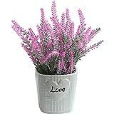 Rose Rot Künstlichen Lavendel Set Simulation Pflanze Keramik Blumentopf DIY Blumenarrangement Kunstzimmer Esstisch Party Hochzeit Dekoration Foto Requisiten 10 × 27Cm Stoffblumen Kunstblüten