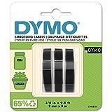 DYMO Prägeband Etiketten Authentisch   3D weiß auf schwarz   9 mm x 3 m   selbstklebendes Kunststoffetikettenband   für Junior & Omega Beschriftungsgerät   3 Stück