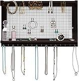 Comfify rustikaler Schmuckorganisator - Wandschmuckhalter mit abnehmbarem Armbandstiel, Ablage und 16 Haken - Perfekte Ohrringe, Halsketten und Armbandhalter - Vintage-Schmuckdisplay - Dunkelb