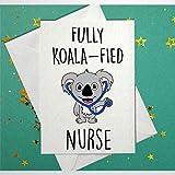 Lustige Glückwunschkarte zum Schulabschluss mit Umschlag, komplett Koala, Krankenschwesterkarte, innen unbeschriftet