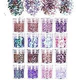 URAQT 16 Boxen Glitzer Make up Set Chunky Glitter, Glitzer für Musik Festival, Masquerade, Halloween, Party, Weihnachten,Glitzer Sequin für Gesicht Nägel Augen Lippen Haare Körper-B