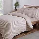 Sleepdown Bettbezug-Set mit Kissenbezügen, gestreift, beige, weiß, Jersey, warm, gemütlich, weich, pflegeleicht, einfarbig, wendbar, 230 x 220 cm, Polycotton, King Size