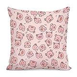 Niedliche rosa Schweine-bedruckte Kissenbezüge für Sofa, Schlafzimmer, Zuhause, Auto, dekorative Kissenbezüge, 45,7 x 45,7 cm