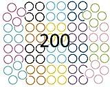 200 bunte Etiketten selbstklebend Sticker starke Aufkleber beschriftbare Etiketten für Gläser, Dosen Geschenktüten Gewürze Marmelade Durchmesser 5cm, 10 Farben