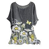 WORMENG Damenmode Vintage Casual Kurzarm Oberteile O-Ausschnitt Bedruckt T-Shirt Lässiges lockeres Tank Tops Bluse