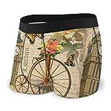 London with Big Ben Roses Fahrrad Herren Unterwäsche Boxer Briefs Leicht Low Rise Trunks S-XXL Gr. L, siehe abbildung