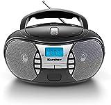 KARCHER RR 5025-B tragbares CD-Radio I CD-Player mit Netz-und Batteriebetrieb I UKW-Radio mit AUX-Anschluss & Kopfhöreranschluss I schw