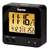 Hama Wecker Digital RC540 (kleiner Funkwecker ohne ticken, digitaler Reisewecker, Funkuhr mit Licht, inkl. Batterie) schwarz