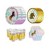 CAKEY 56-teiliges Geschirr-Set aus Papier, Einhorn-Partyzubehör, Einhorn-Servietten, Partyteller für Geburtstag, Babyparty