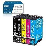 LogasMart 502XL Druckerpatronen für Epson 502 Patronen mit Epson Workforce WF-2860 WF-2860DWF WF-2865 WF-2865DWF, Expression Home XP-5100 XP5100 XP-5105 XP5105 (2 Schwarz, 1 Cyan, 1 Magenta, 1 Gelb)