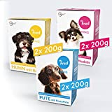 Mr. Fred- Hundefutter nass   Super Premium Nassfutter für Hunde   Probierbox 6 x 200g   Lebensmittelqualität   Rind, Huhn, Pute   wiederverschließbar