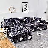 WXQY Elastische Sofabezug mit Blumendruck für Wohnzimmer Stuhlbezug Schutzbezug Wohnzimmer Vollstaubfeste Sofabezug A16 3-Sitzer