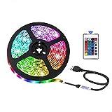 USB LED Strip Lights for TV Backlight, Indoor Decoration, 16 Colors Light, 24Key Remote,5V Safe and Touchale (3m)