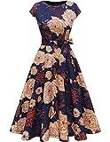 DRESSTELLS Damen Cocktailkleid Midilang Abendkleider elegant für Hochzeit Festlich Rockabilly Kleid Navy Yellow Flower L