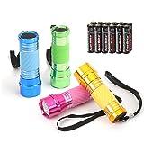 EverBrite Mini Taschenlampe LED 4-tlg. Handlampe LED Aluminium kleine Taschenlampe für Camping, Outdoor, Radfahren, Jagen mit 12 AAA Batterien