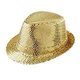 Widmann 9067D - Hut Fedora, Gold, Hut mit Pailletten, Kopfbedeckung, Mottoparty,