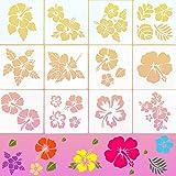 12 Stücke Hibiskus Schablone Hawaiian Blumen Malerei Vorlagen Blumen Schablone Große Blume Schablonen für Scrapbooking Zeichnung DIY Handwer Kunst Zeichnung Holz Wand Dekor, 6 x 6 Zoll