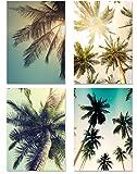 PICSonPAPER Poster 4er-Set PALMEN, ungerahmt DIN A4, Dekoration fürs Wohnzimmer oder Büro, Dekoposter, Geschenk, Kunstdruck (DIN A4 ungerahmt)