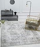 Zen Klassicher Vintage Wohnzimmer Teppich im Modernen Used Look, Superflach, Waschbar bis 30 Grad, Baumwollrücken, Orient Muster, Grau Braun, 120 x 170