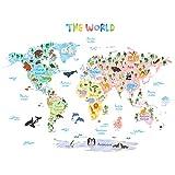 Decowall DAT-1615S Weltkarte Tierweltkarte Tiere Wandtattoo Wandsticker Wandaufkleber Wanddeko für Wohnzimmer Schlafzimmer Kinderzimmer (Groß) (Englisch Ver.)