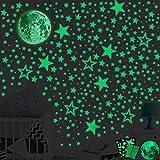 SaiXuan Leuchtsticker Wandtattoo,435pcs Leuchtsterne Punkten und Mond Wandsticker Wandaufkleber,DIY Baby Kinder oder Schlafzimmer Mond Wanddeko Aufkleb