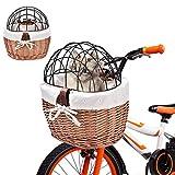 Seasaleshop 【Primlisa】 Fahrrad Weidenkorb Vorne Lenkerkorb, Fahrrad Vorne Hund Fahrradkorb Lenker Wicker Fahrradkorb für kleine Haustiere, Katzen, Hunde