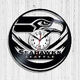 YUN Clock@ Wanduhr aus Vinyl Schallplattenuhr Upcycling 3D Seattle Seahawks Design-Uhr Wand-Deko Vintage Familien Zimmer Dekoration Kunst Geschenk, Durchmesser 30 cm,D