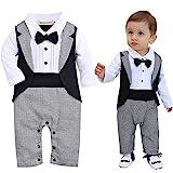 ZOEREA Säuglings Babys scherzt Kinder Kleidungs Mantel Weste Spielanzug der Ausstattungs Overall mit Langen Ärmeln Baumwolle Kleidung,Schwarze Krawatte,9-12 Monate (90)