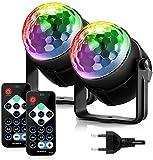 FIMEI Disco-Lichter, akustisch aktiviert, mit Fernbedienung, Disco-Beleuchtung, 7 Farben, RGB, magische Beleuchtung, für KTV, Weihnachten, Party, Hochzeit, Disco, DJ-2er-Pack